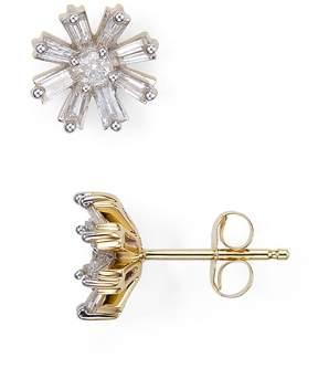 Adina Diamond Baguette Flower Stud Earrings