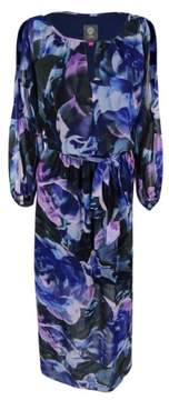 Vince Camuto Women's Cut Out Sleeve Floral Print Dress