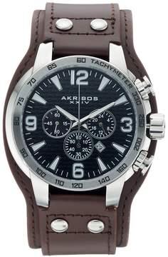 Akribos XXIV Men's Leather Chronograph Watch - AK727SSB