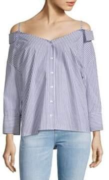 Collective Concepts Off-Shoulder Stripe Shirt
