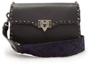 Valentino Rockstud Rolling Leather Shoulder Bag - Womens - Black Navy
