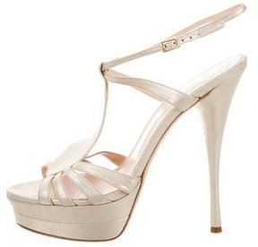 Versace Metallic Suede Sandals