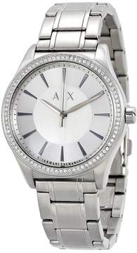 Armani Exchange Silver-tone Dial Stainless Steel Dress Ladies Watch