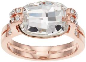 Brilliance+ Brilliance 14k Rose Gold Plated Ring with Swarovski Crystals