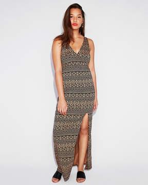 Express Geometric Print Surplice High Slit Maxi Dress