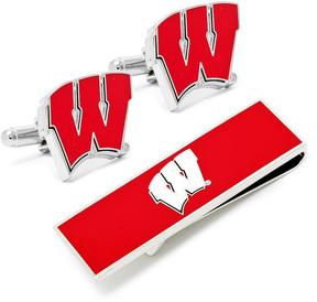 Ice U of Wisconsin Badgers Cufflinks and Money Clip Gift Set