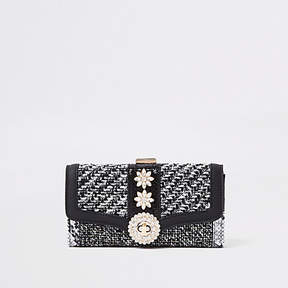 River Island Black check jewel embellished clip top purse