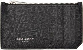 Saint Laurent Black 5 Fragments Zip Card Holder