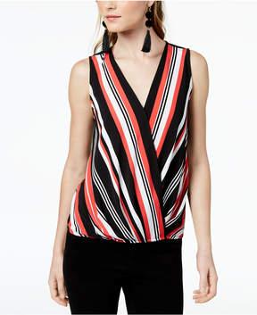 Bar III Sleeveless Striped Surplice Top, Created for Macy's