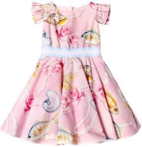 MonnaLisa Fish Printed Cotton Poplin Dress