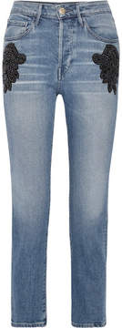 3x1 W3 Cropped Embellished High-rise Straight-leg Jeans - Mid denim