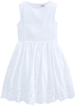Vineyard Vines Girls Seersucker Eyelet Dress