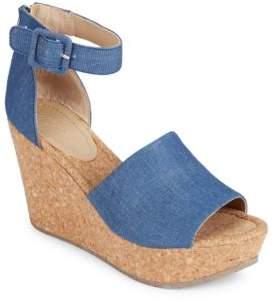Kenneth Cole Reaction Sole Quest Platform Denim Wedge Sandals