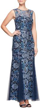 Alex Evenings Floral Embroidered Sleeveless Gown