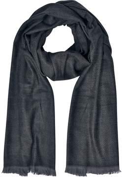 Marina D'Este Zigzag Stripe Cashmere, Silk and Wool Long Scarf w/Fringes