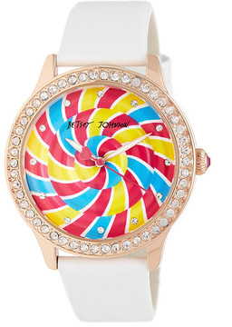 Betsey Johnson Women's Candy Stop Crystal Croc Embossed Leather Watch