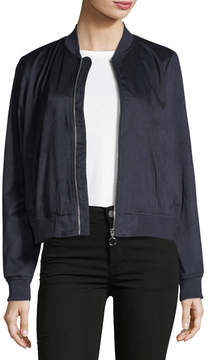 Bagatelle Faux-Suede Embroidered Bomber Jacket