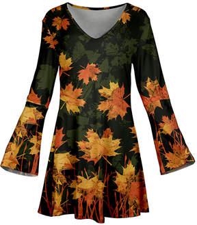 Azalea Green & Orange Leaves Flare-Sleeve Tunic - Women & Plus