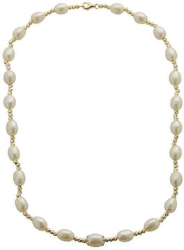 Brilliance+ FINE JEWELRY Cultured Freshwater Rice Pearl & 2-Tone Brilliance Bead Necklace