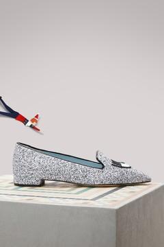 Chiara Ferragni Leather glitter slippers