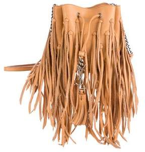 Saint Laurent Mini Bourse Fringe Crossbody Bag - BROWN - STYLE