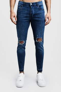 boohoo Skinny Fit Mid Blue Jeans With Ripped Knees