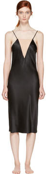 Fleur Du Mal Black Plunge Bias Slip Dress