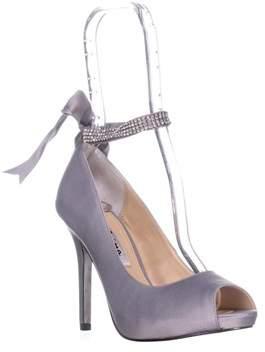 Nina Karen Rhinestone Ribbon Ankle-strap Pumps, Royal Silver.