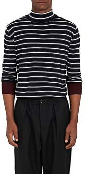 Marni Men's Striped Merino Wool Split-Turtleneck Sweater