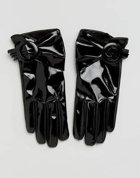 Asos Patent Buckle Glove With Touch Screen