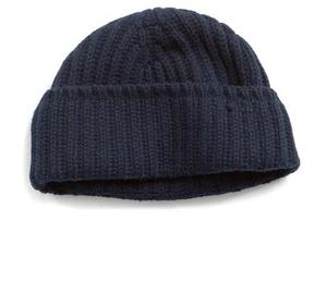 Drakes Drake's Cashmere Ribbed Beanie in Navy