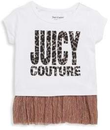 Juicy Couture Girl's Logo Ruffled-Hem Top