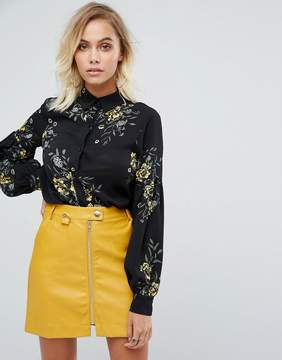 Fashion Union BALLOON Sleeve Shirt In Bold Floral Bloom Print