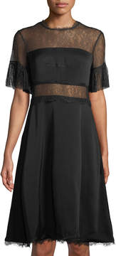 Shoshanna Mirada Short-Sleeve Lace Crepe Cocktail Dress