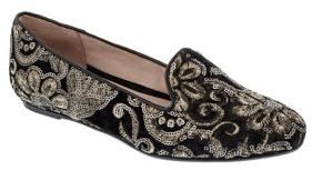 Patricia Green Whitney Embroidered Velvet Smoking Loafers