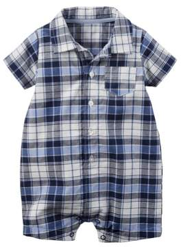 Carter's Boy 1pc Romper Navy and Blue Plaid