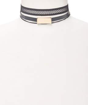 Carole Black Net & Goldtone Bar Choker Necklace