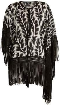 Andrew Gn Floral-print fringed hem asymmetric silk-blend top