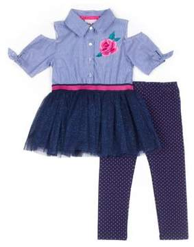 Little Lass Little Girl's Two-Piece Embroidered Cotton Top and Polka Dot Leggings Set