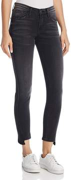 Flying Monkey Twist-Seam Step Hem Skinny Jeans in Black
