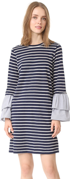 Clu Too Striped Dress with Contrast Ruffles