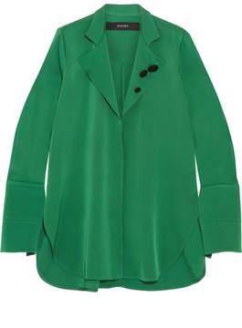 Ellery Button-detailed Silk-blend Georgette Shirt - Dark green