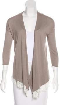 Autumn Cashmere Lace-Trimmed Cashmere Cardigan