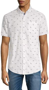 Report Collection Men's Bicycle-Print Cotton Button-Down Shirt