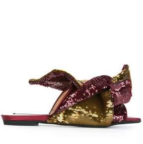 No.21 sequined flat sandals