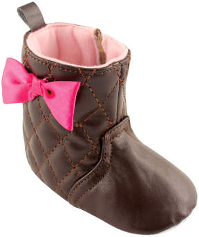 Luvable Friends Brown Quilted Bow-Accent Booties - Girls