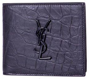 Saint Laurent Crocodile Embossed Leather Wallet - BLACK - STYLE