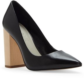 1 STATE Valencia Nappa Leather Pointed Toe Wood Block Heel Pumps