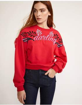 Cynthia Rowley | Red Bedford Embroidered Sweatshirt | L | Red