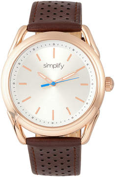 Simplify Rose Gold & Brown The 5900 Leather-Strap Watch
